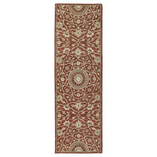 Hand-tufted Joaquin Red Medallion Wool Rug (2'6 x 8')