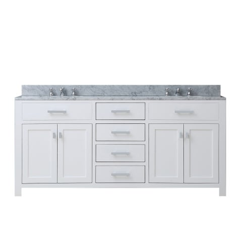Water Creation Madison 60-inch Solid White Double Sink Bathroom Vanity
