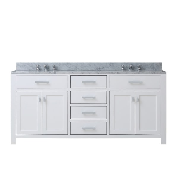 Shop water creation madison 60 inch solid white double - 60 inch unfinished bathroom vanity ...