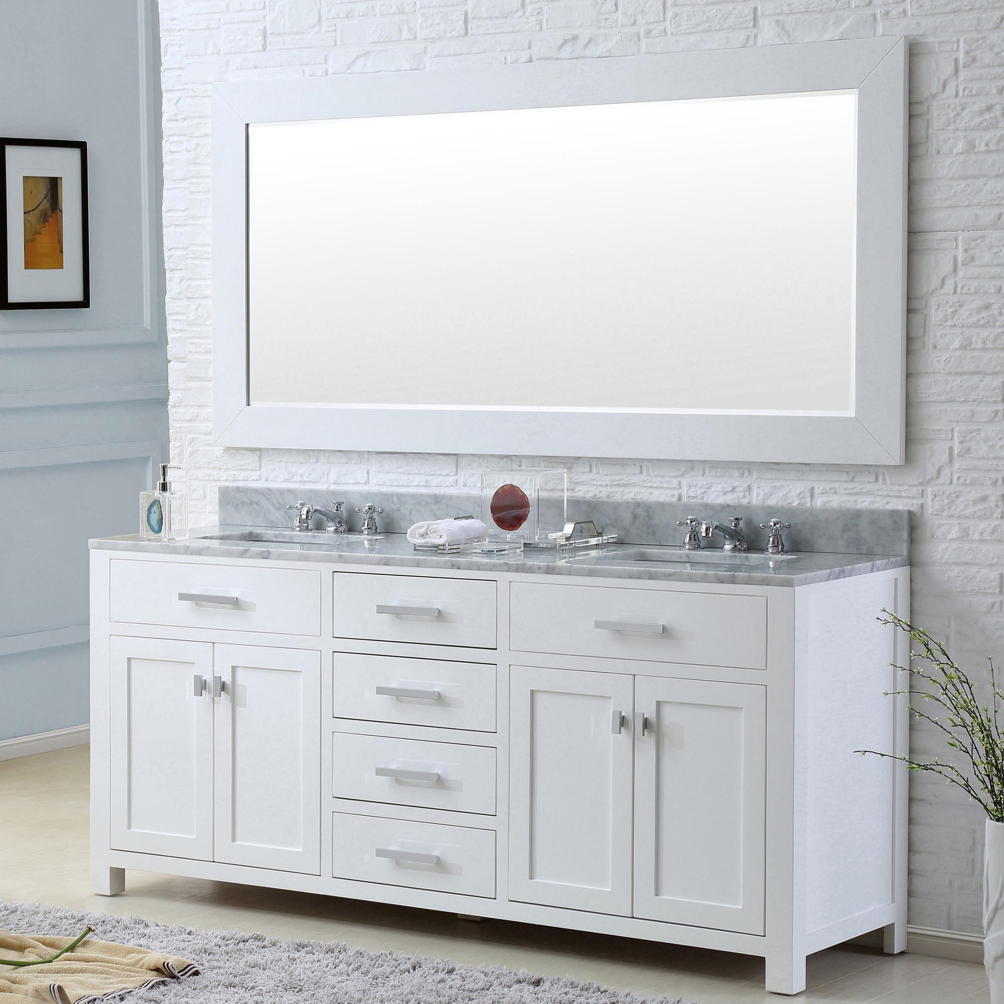 Madison Solid White Double Sink Bathroom Vanity With Large Framed Mirror Overstock 8664419