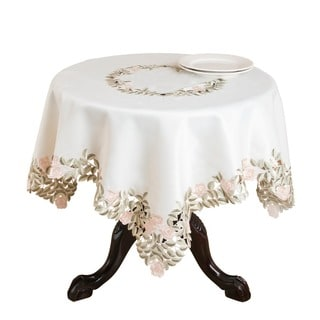 Embroidered and Cutwork Floral Table Cloth or Runner
