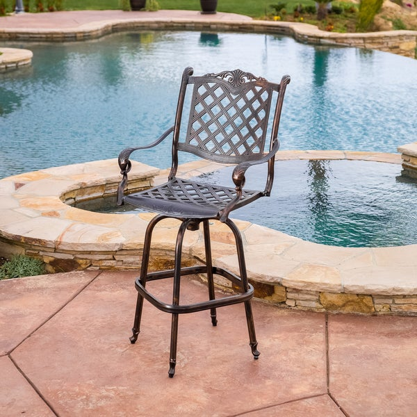 shop avon cast aluminum copper outdoor bar stool by christopher