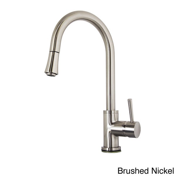 Shop psk 1003 single handle kitchen faucet in brush nickel for Chrome or brushed nickel kitchen faucet