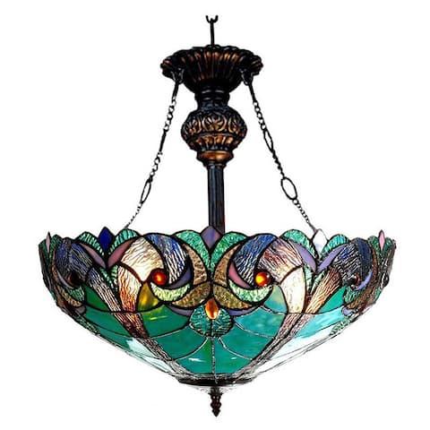 Chloe Tiffany-style Victorian Design 2-light Inverted Pendant
