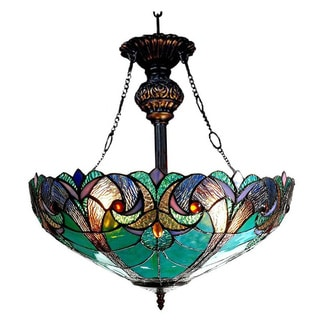 Tiffany-style Victorian Design 2-light Inverted Pendant Light