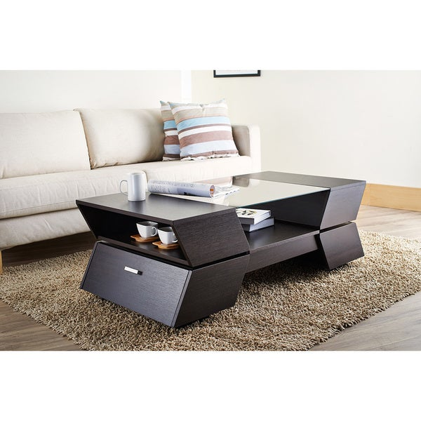 Espresso Coffee Table With Storage: Furniture Of America Anjin Enzo Contemporary Two-tone