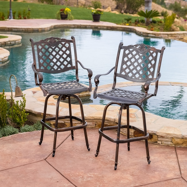 shop avon cast aluminum copper outdoor bar stool set of 2 by christopher knight home on sale. Black Bedroom Furniture Sets. Home Design Ideas
