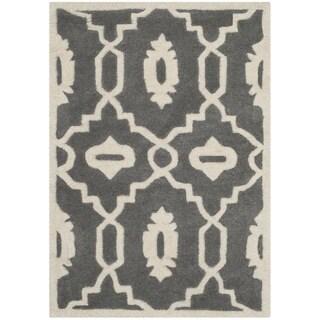 Safavieh Handmade Moroccan Chatham Contemporary Dark Gray/ Ivory Wool Rug (2' x 3')