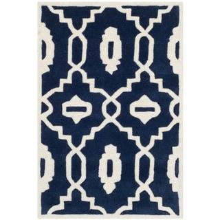 Safavieh Handmade Moroccan Chatham Dark Blue/ Ivory Wool Indoor Rug (2' x 3')
