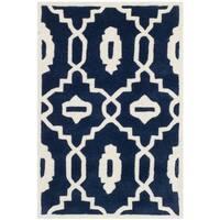 Safavieh Handmade Moroccan Chatham Dark Blue/ Ivory Wool Indoor Rug - 2' X 3'