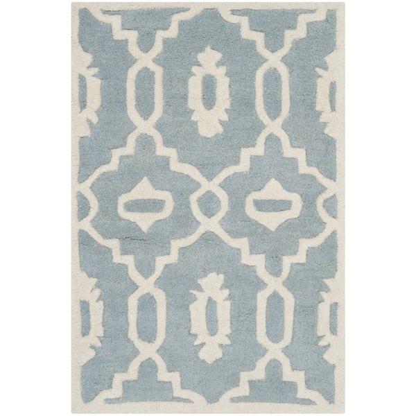 Safavieh Handmade Moroccan Chatham Blue/ Ivory Wool Rug (2' x 3') - 2' x 3'