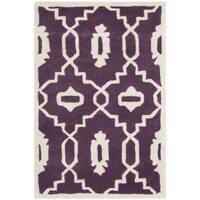 Safavieh Handmade Moroccan Chatham Purple/ Ivory Wool Accent Rug - 2' X 3'