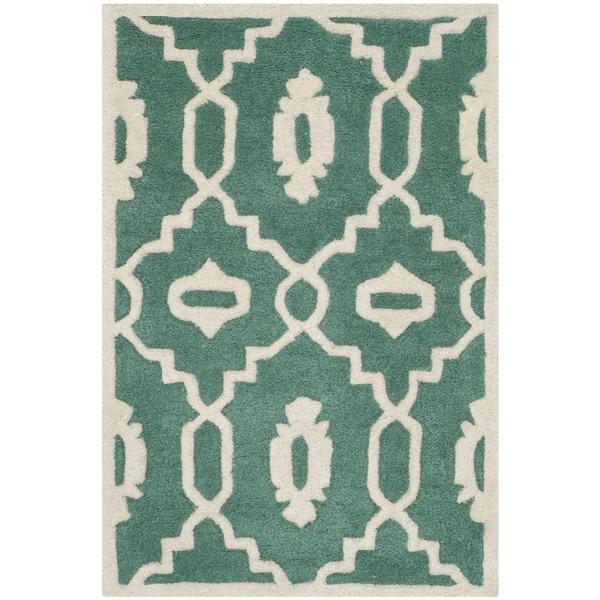 Shop Safavieh Handmade Moroccan Chatham Teal Ivory Wool