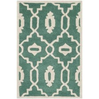 Safavieh Handmade Moroccan Chatham Teal/ Ivory Wool Rug (2' x 3')