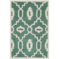 Safavieh Handmade Moroccan Chatham Teal/ Ivory Wool Rug - 2' X 3'