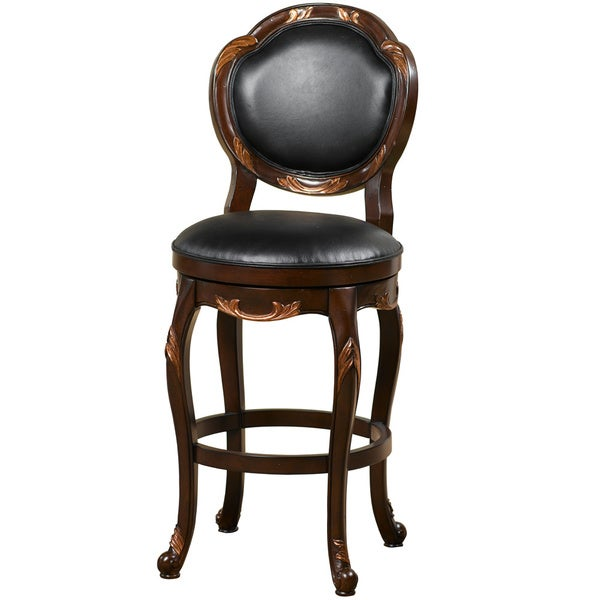 Shop Alaina Copper Leaf Accented Walnut Swivel Stool