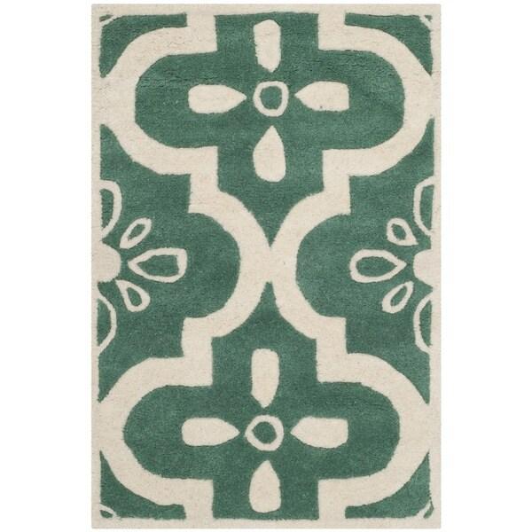 Shop Safavieh Handmade Moroccan Chatham Teal Ivory Wool: Shop Safavieh Handmade Moroccan Chatham Contemporary Teal