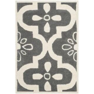 Safavieh Handmade Moroccan Chatham Dark Grey/ Ivory Wool Rug (2' x 3')