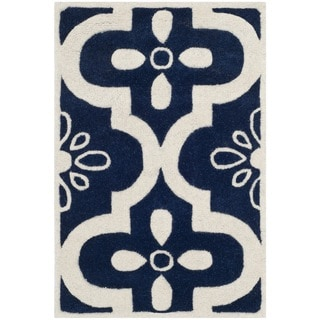 Safavieh Handmade Moroccan Chatham Dark Blue/ Ivory Wool Rug with Cotton Canvas Backing (2' x 3')