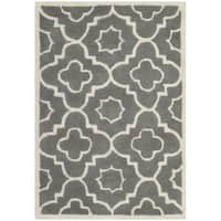 Safavieh Handmade Moroccan Chatham Dark Grey/ Ivory Wool Rug - 2' x 3'