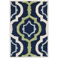 Safavieh Handmade Moroccan Chatham Dark Blue/ Green Wool Rug - 2' X 3'