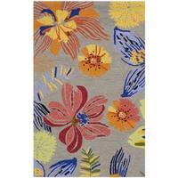 Safavieh Hand-Hooked Four Seasons Grey / Orange Polyester Rug - 2'6 x 4'