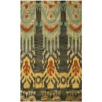Safavieh Handmade Ikat Olive/ Gold Wool Rug (3' x 5')