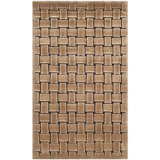 Safavieh Hand-knotted Tibetan Geometric Taupe/ Black Wool Rug (3' x 5')