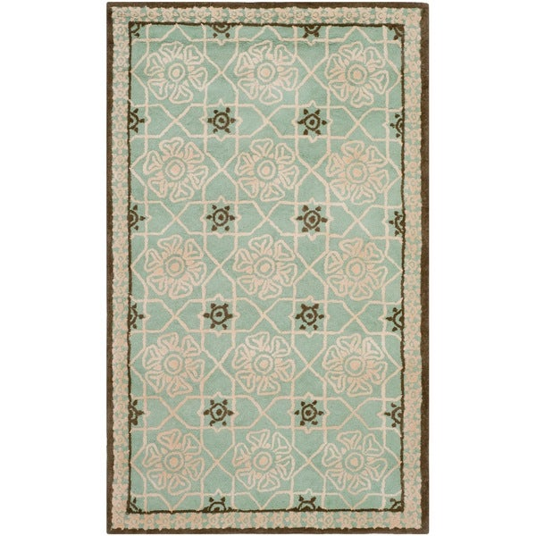 Shop Safavieh Hand-hooked Newport Teal/ Ivory Cotton Rug