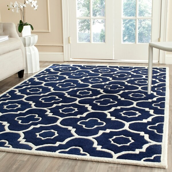 Indoor Safavieh Handmade Moroccan Chatham Dark Blue/ Ivory Wool Rug - 8' x 10'