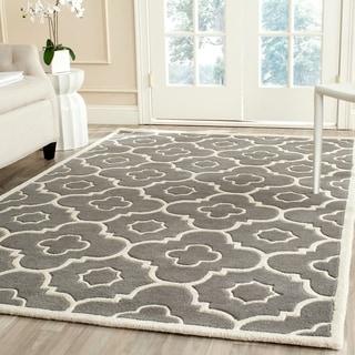 Safavieh Handmade Moroccan Chatham Trellis-pattern Dark Gray/ Ivory Wool Rug (8' x 10')
