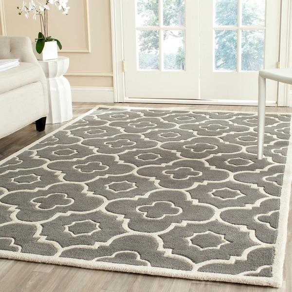 Safavieh Handmade Moroccan Chatham Trellis-pattern Dark Gray/ Ivory Wool Rug - 8' x 10'