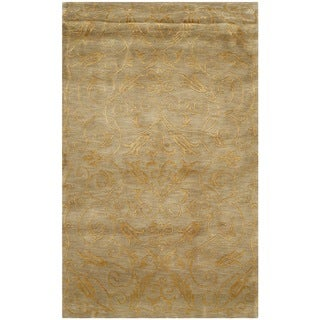 Safavieh Hand-knotted Tibetan Iron Scrolls Green/ Gold Wool/ Silk Rug (3' x 5')