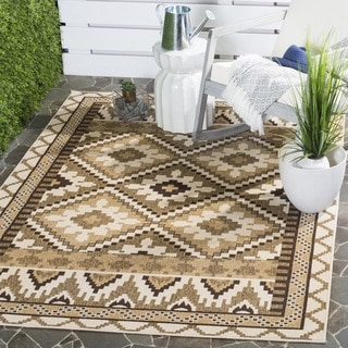 Safavieh Indoor/ Outdoor Veranda Cream/ Brown Rug (2'7 x 5')