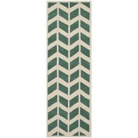 Safavieh Handmade Moroccan Chatham Chevron Pattern Teal/ Ivory Wool Rug - 2'3 x 7'
