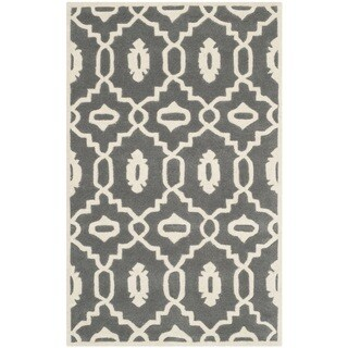 Safavieh Handmade Moroccan Chatham Dark Grey/ Ivory Wool Rug (3' x 5')
