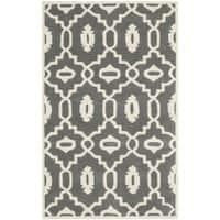 Safavieh Handmade Moroccan Chatham Dark Grey/ Ivory Wool Rug - 3' x 5'