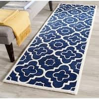 Durable Safavieh Handmade Moroccan Chatham Dark Blue/ Ivory Wool Rug - 2'3 x 7'