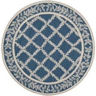 Safavieh Hand-hooked Chelsea Navy/ Cream Wool Rug (4' Round)