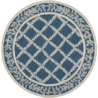 Safavieh Hand-hooked Chelsea Navy/ Cream Wool Rug - 4' Round