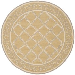 Safavieh Hand-hooked Chelsea Yellow/ Grey Wool Rug (4' Round)