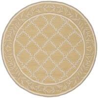 Safavieh Hand-hooked Chelsea Yellow/ Grey Wool Rug (4' Round) - 4' x 4'