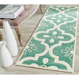"""Safavieh Handmade Moroccan Chatham Abstract Pattern Teal/ Ivory Wool Rug (2'3"""" x 7')"""