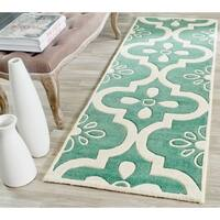 Safavieh Handmade Moroccan Chatham Abstract Pattern Teal/ Ivory Wool Rug - 2'3 x 7'