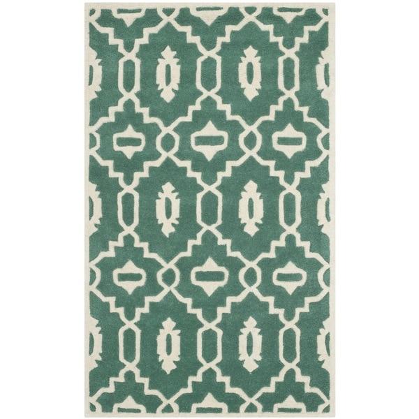 Shop Safavieh Handmade Moroccan Chatham Teal/ Ivory Wool