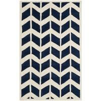 Safavieh Handmade Moroccan Chatham Dark Blue/ Ivory Wool Rug - 3' x 5'