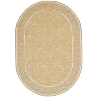 Safavieh Hand-hooked Chelsea Yellow/ Grey Wool Rug (4'6 x 6'6 Oval)