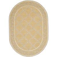 Safavieh Hand-hooked Chelsea Yellow/ Grey Wool Rug - 4'6' x 6'6 oval