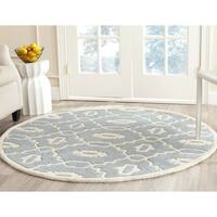Safavieh Handmade Moroccan Chatham Trellis-pattern Blue/ Ivory Wool Rug - 5' Round