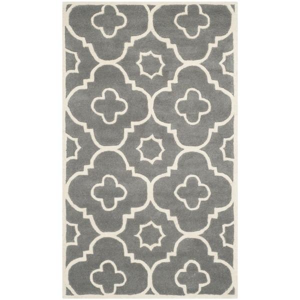 Safavieh Handmade Moroccan Chatham Dark Gray/ Ivory Wool ...